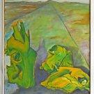 Vintage Original Western Folk Naive Painting  Animal Skulls Along Road Bradford
