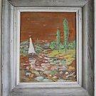 Vintage Painting Watercolor River Sailboat Marine Naive Folk Primitive Signed