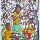Vintage Folk Painting R Henry Kid  Black Musicians Bayou Guitar Flute Conga Drum