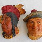 Pair 2 Vintage Bossons 1969 Joc and Tecumseh Shawnee Chief Wall Art  Vintage