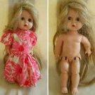 "Vintage Littlest Angel Small Doll R & B Dress 10"" Tall Eyes Open Close Dress"