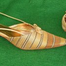 Vintage Carole Little Sandals Kitten Wood Heel Slingback Stripe Shoe Pointy 9M