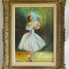 Outsider Folk Naive Art Vintage Painting Ballerina on Point Swan Lake
