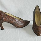 Snakeskin Effect Norma B Vintage Pumps Pointy High Cut Chiseled Triangle Heel 7