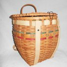 Fishing Creel Basket Vintage Wicker Woven Decorated Folk Adjusable Back Straps