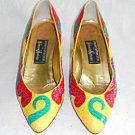 Vintage 70s Andrea Pfister Pumps Snakeskin Shaped Heel Swirling Colorblock Art 5
