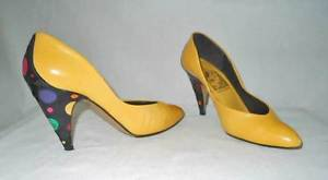 Leyla Mitra Leather Polka Dot Heel and Back Yellow Shoes Sexy Low Cut Pumps 6