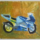 Vintage Outsider Folk Original Painting Suzuki Motorcycle Crotch Rocket Racer