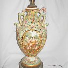 Vintage Capo Bisque Lamp Hand Painted Baroque Scenes Pierced Nudes Huge Regency