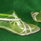 Stuart Weitzman Strappy Silk Silver Roman Sandals Shoes Pin Heel Sexy Gray 8.5M