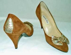 Maria Pia Pumps Brown Suede Low Cut Toe Clevage Heart Buckle Bow Sexy Shoes 6
