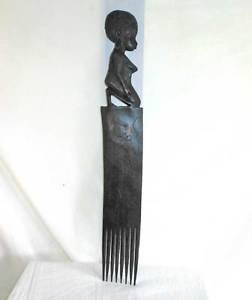 "Nude Female African Vintage Wood Carving Huge 25"" Comb Fetish Tribal Bicycle"