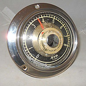 Vintage Mid Century Modern Airguide Marine Tachometer Flush Mount Boat 8000 RPM