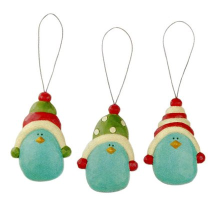 Blossom Bucket Bluebirds in Winter Hats Christmas Gift Tag Ornaments