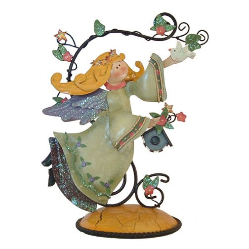 Metal Folk Art Angel with Dove and Birdhouse Figurine Country Home Decor