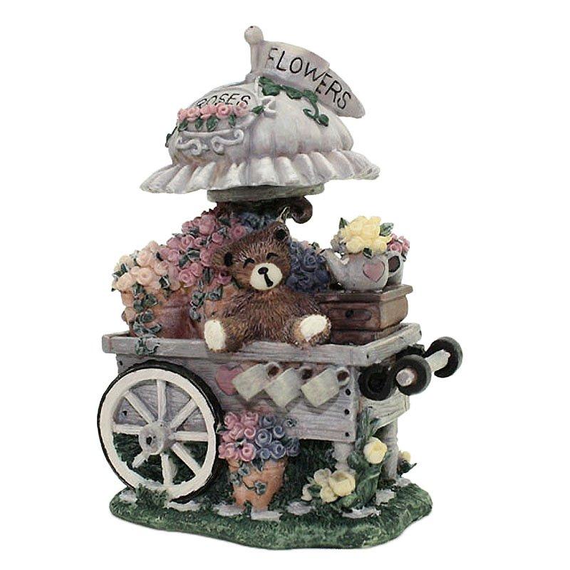 Susan Reader Teddy Bear on Flower Cart Valentine Mother's Day Figurine