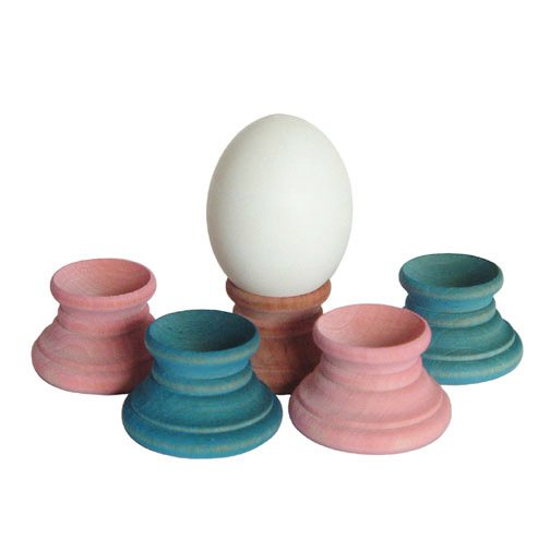Pastel Natural Wood Egg & Sphere Holders Figurine Stands Kitchen Easter Decor