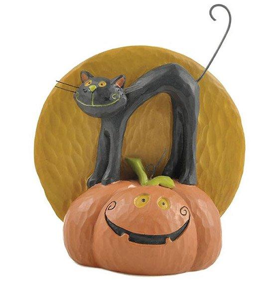 Halloween Black Cat on Jack-O-Lantern with Moon Figurine