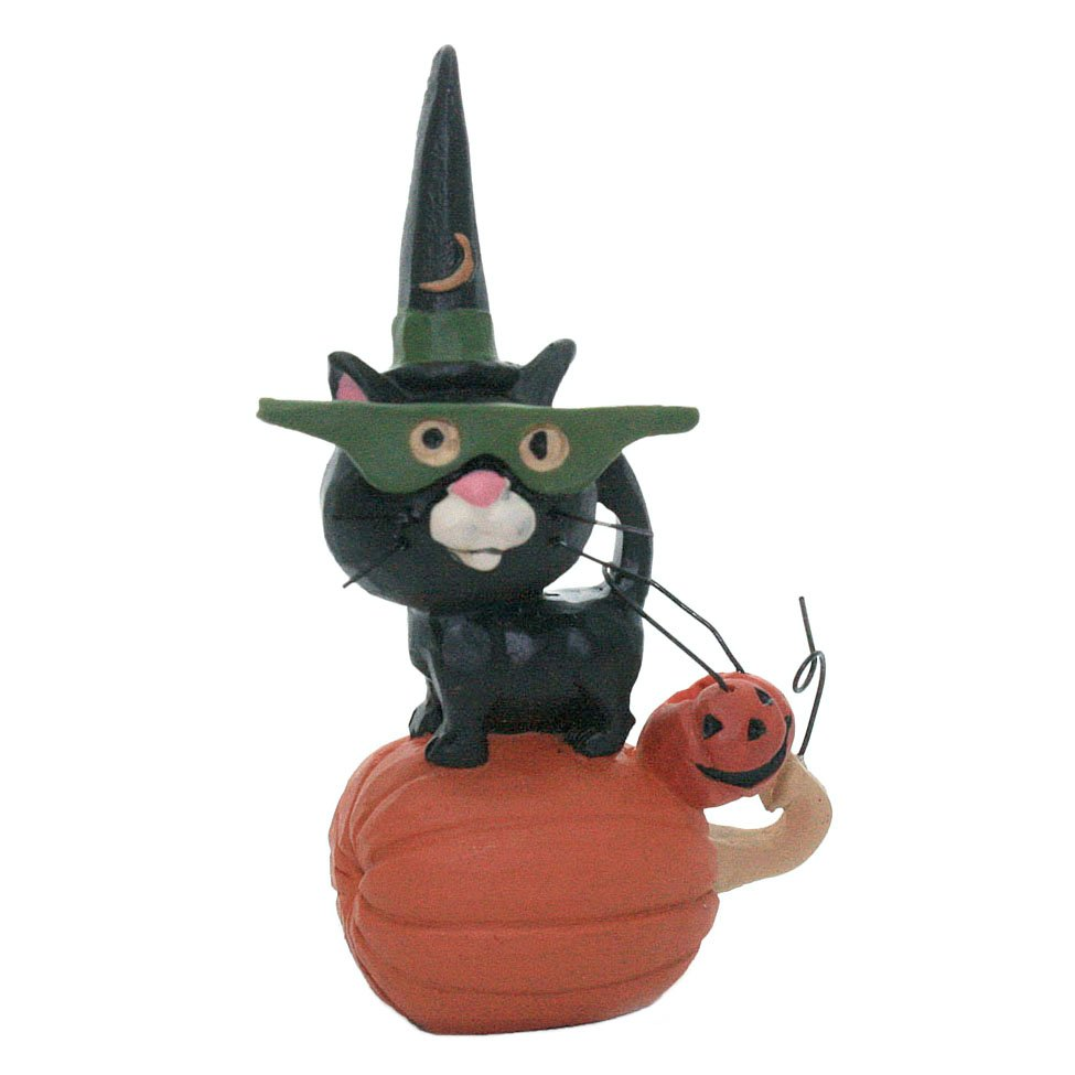 Black Cat in Green Mask - Blossom Bucket Halloween Figurine