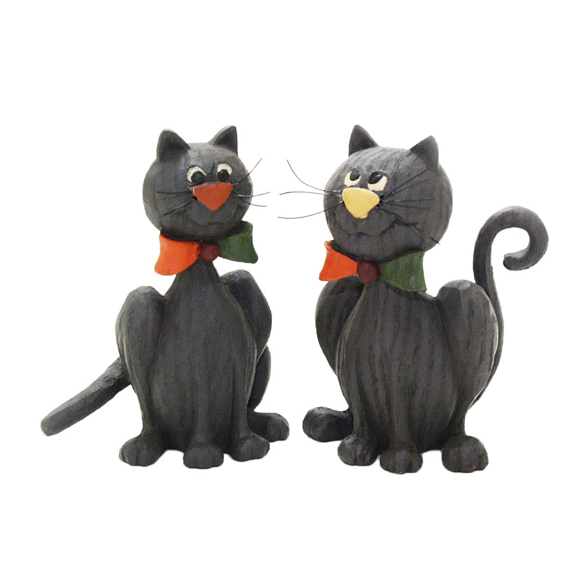 Blossom Bucket Black Cats with Bow Ties Halloween Figurines