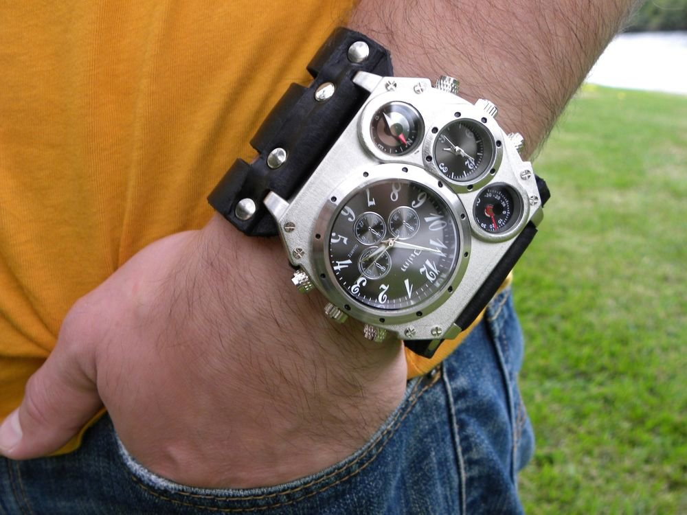 Buffalo Leather steampunk cuff bracelet Men`s Valentine's Day gift watch