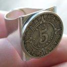 Vintage Mexican Coin Aztec calendar 5 centavos Adjustable  Men`s ring steampunk