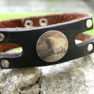 Customize your Wrist Bracelet wristband Buffalo Leather, Buffalo Indian coin mg