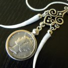 Fashion necklaces Dentalium and Authentic Silver Mercury dime coin Indian style