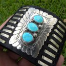 Leather Ketoh cuff Bracelet  Sterling Silver Turquoise signed Native Indian RSP