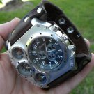 Buffalo Leather handmade wristband  cuff bracelet Men`s Watch dual time military