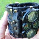 Buffalo Leather handmade wristband  cuff bracelet Men`s Watch suel time