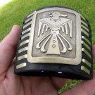 Vintage silver Navajo Thunderbird  Bison leather Indian style ketoh  bracelet