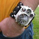 Buffalo Leather handmade wristband  cuff bracelet Men`s Watch Steam punk dual