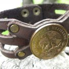 Real Centavos Aztec Eagle Coin Customize your wrist Bracelet Buffalo leather
