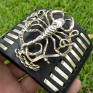 Customize signed Bracelet wristband Buffalo Bison Leather bones Vintage Scorpion