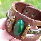 Men bracelet Buffalo Leather Natural agate stone Customize Handmade Indian Style