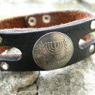 Handmade cuff Bracelet Jewish  Judaism  Buffalo Leather Israel  Menorah coin