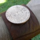 Men bracelets wristband Handmade Genuine Buffalo Leather  Aztec calendar coin