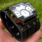Steam punk Men's Triple Time Zone Military Army  Sport Wrist Watch Bracelet