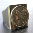 Vintage silver Mercury dime coin handmade adjustabl silver tone brass base ring