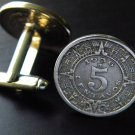 Handmade Cufflinks Vintage Real Aztec Calendar coins 5 centavos Mexican coins