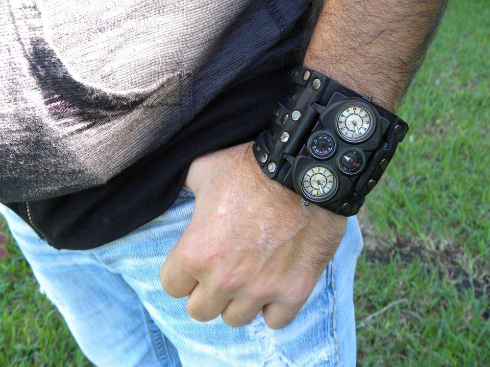 Buffalo Leather Valentine's Day gift  cuff Valentine's  watch bracelet for Men`s