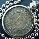 Vintage Aztec Calendar 5 centavos Mexican coin handmade necklace stainless steel