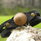 Handmade cuff black Bracelet Buffalo leather Indian Head mixed metals