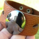 Natural Hematite gemstone American  Buffalo Leather Handmade cuff Bracelet