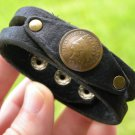 Vintage Indian Head penny coin Buffalo leather cuff bracelet wristband signed