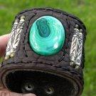 Malachite gemstone Bone  Buffalo leather  Bracelet Vintage Designer Signed