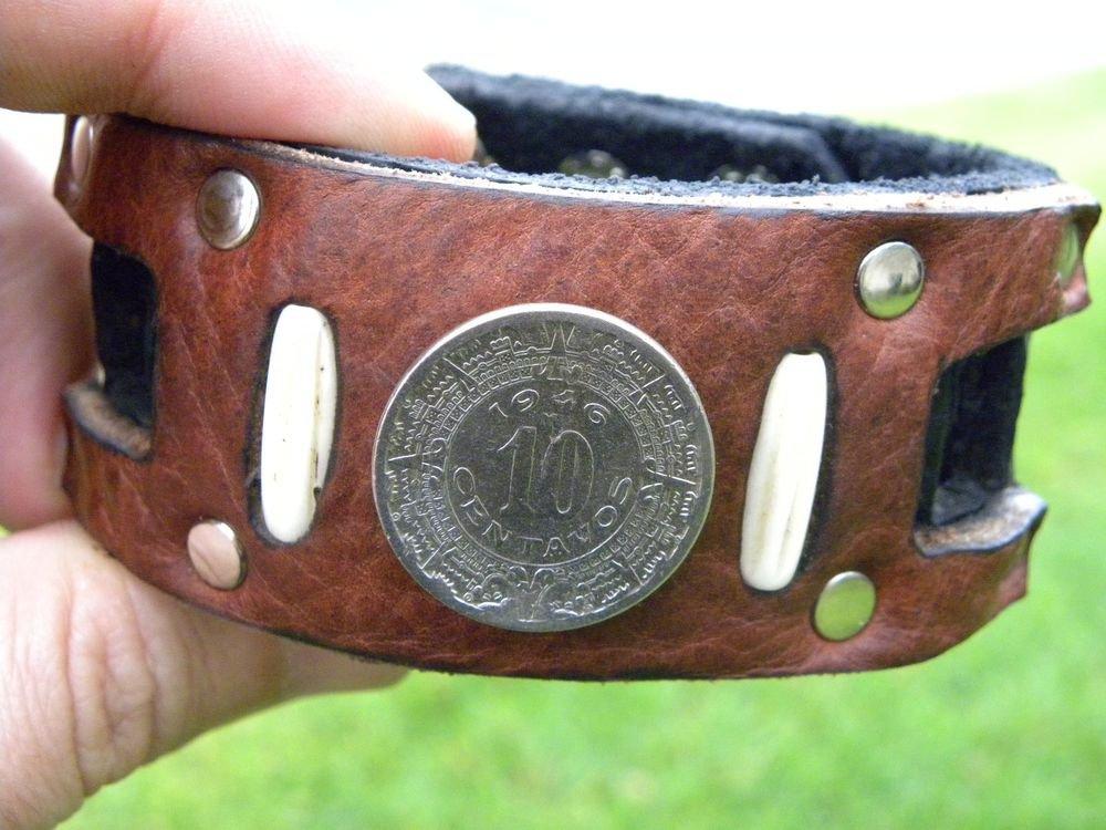 Handmade Cuff Men Bracelets Genuine Buffalo Leather Aztec Calendar coin mg