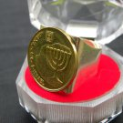 Men Ring Authentic Israel coin Holly land Jeruslem Menorah Jewish in gift box