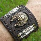 Handmade signed Indian Chief Bracelet  Buffalo Leather bones customize brass